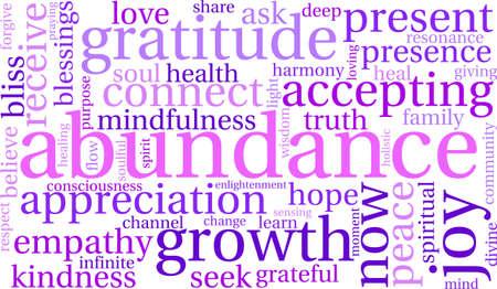 reiki: Abundance word cloud on a white background. Illustration