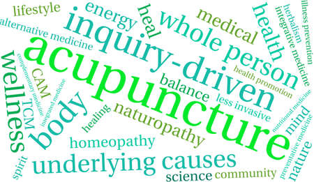 Acupuncture word cloud on a white background. Vettoriali