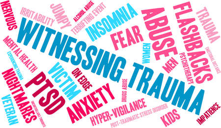 alcohol abuse: Witnessing Trauma word cloud on a white background. Illustration