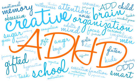 compulsive: ADHD word cloud on a white background. Illustration
