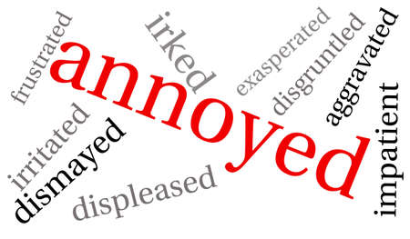 irritated: Annoyed word cloud on a white background.
