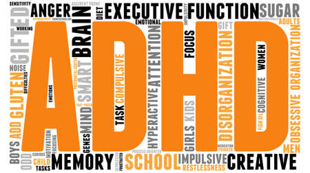 ADHD word cloud on a white background. Çizim