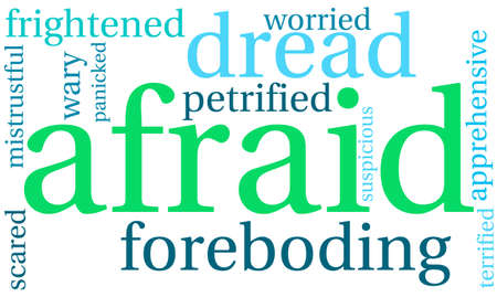 terrified: Afraid word cloud on a white background.
