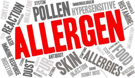 Allergen word cloud on a white background.