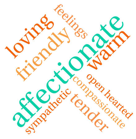 affectionate: Affectionate word cloud on a white background. Illustration