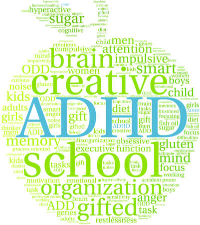 ADHD word cloud on a white background. Illusztráció