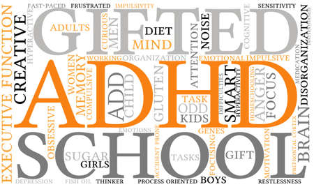 adhd: ADHD word cloud on a white background. Illustration
