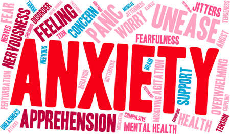 Anxiety word cloud on a white background. Ilustrace
