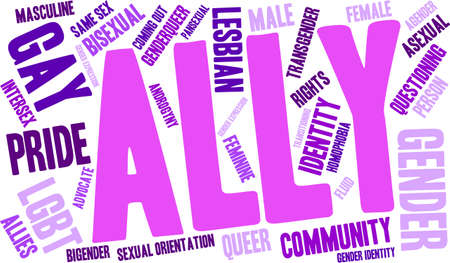 Ally LGBT Word Cloud on a white background. Illustration