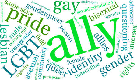 Ally LGBT Word Cloud on a white background. Çizim