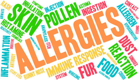 Allergies word cloud on a white background. Stock Vector - 67977947