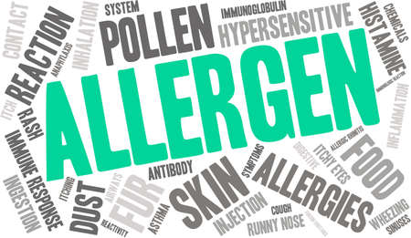 histamine: Allergen word cloud on a white background.