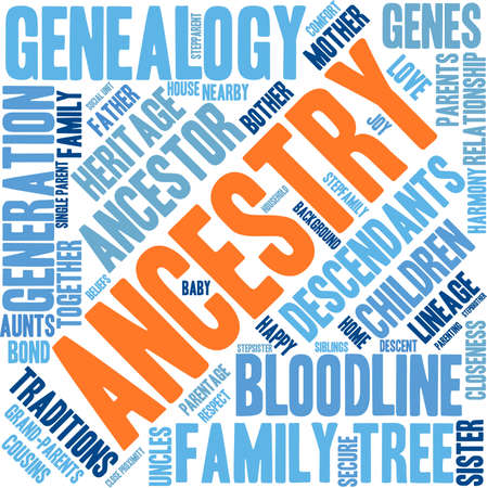 Ancestry word cloud on a white background. Stock Vector - 67977898