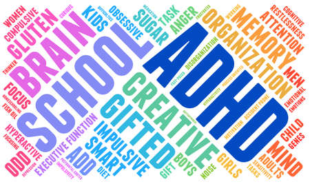 ADHD word cloud on a white background. Illustration