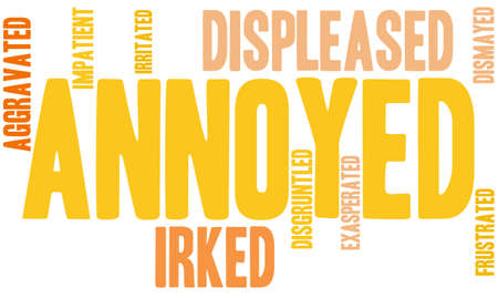 irked: Annoyed word cloud on a white background.