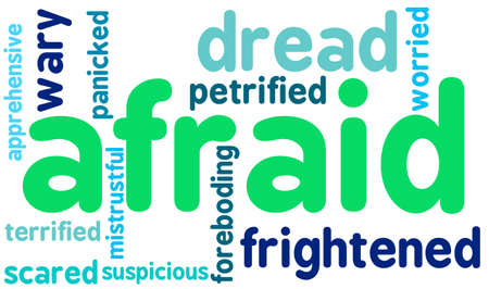 Afraid word cloud on a white background.