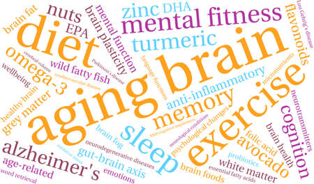 Aging Brain word cloud on a white background. Vettoriali