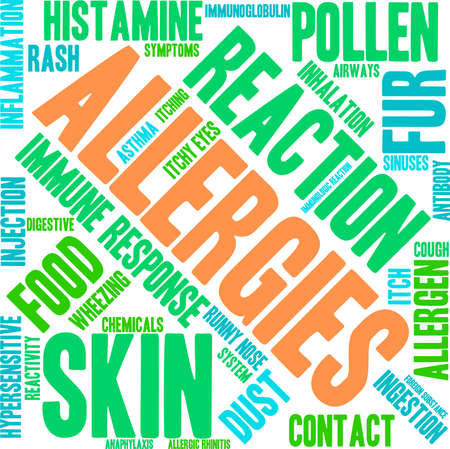 response: Allergies word cloud on a white background.
