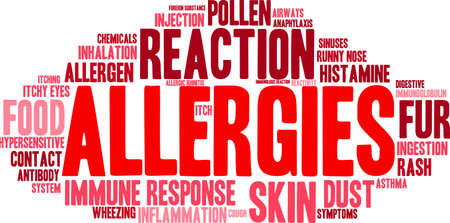 itching: Allergies word cloud on a white background.
