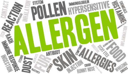 reactivity: Allergen word cloud on a white background.