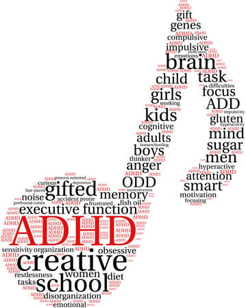 hyperactive: ADHD word cloud on a white background. Illustration