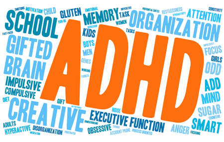ADHD word cloud on a white background. Stock Illustratie