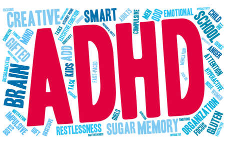 restlessness: ADHD word cloud on a white background. Illustration