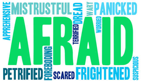 panicked: Afraid word cloud on a white background.
