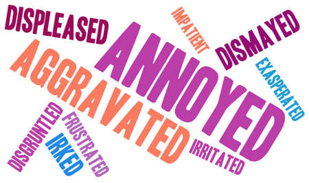 Annoyed word cloud on a white background.