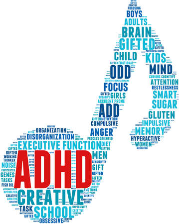 hyperactivity: ADHD word cloud on a white background. Illustration