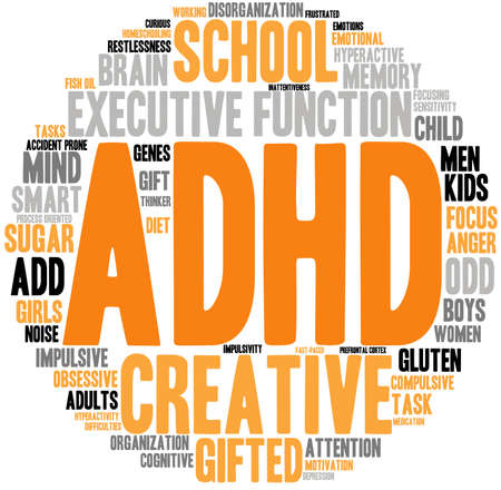 obsessive compulsive: ADHD word cloud on a white background. Illustration