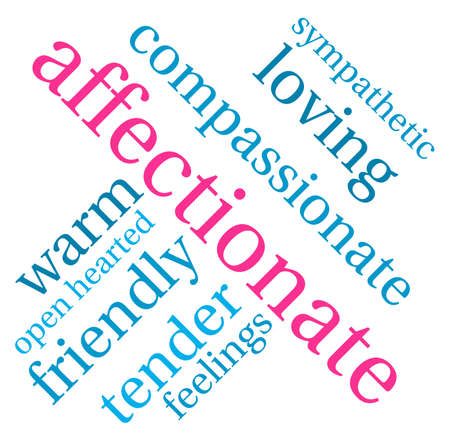compassionate: Affectionate word cloud on a white background. Illustration
