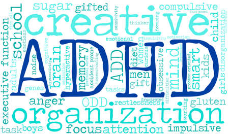 obsessive: ADHD word cloud on a white background. Illustration