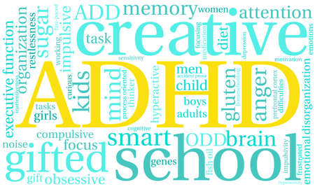 sensitivity: ADHD word cloud on a white background. Illustration