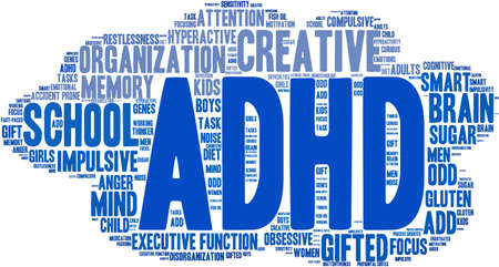 ADHD word cloud on a white background. Ilustração