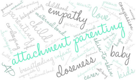 gentleness: Attachment Parenting word cloud on a white background.