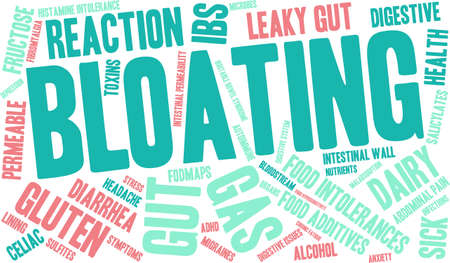 Bloating word cloud on a white background. Stock Vector - 94693349