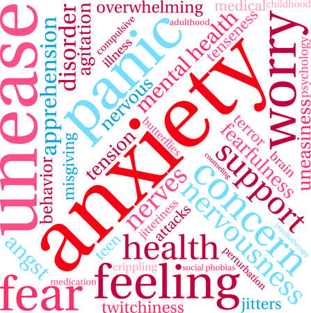 Anxiety word cloud on a white background. Illustration