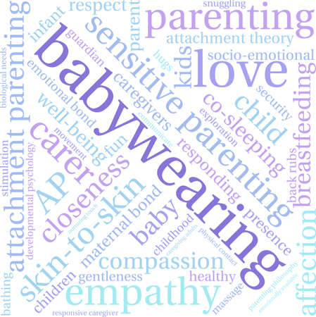 caregivers: Baby Wearing word cloud on a white background.
