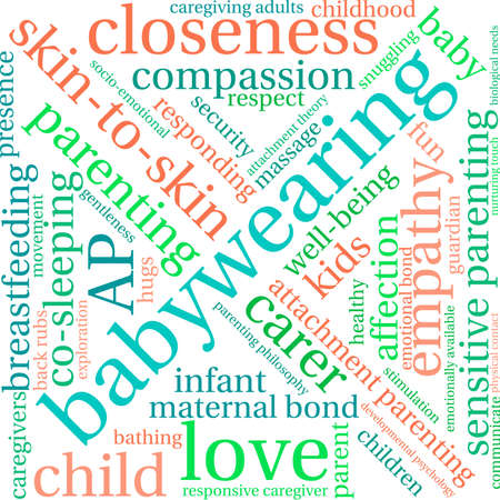 infant bathing: Baby Wearing word cloud on a white background.