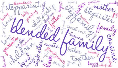 Familia nube de palabras sobre un fondo blanco. Ilustración de vector