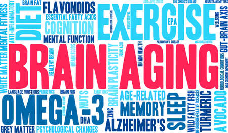 Brain Aging word cloud on a white background.