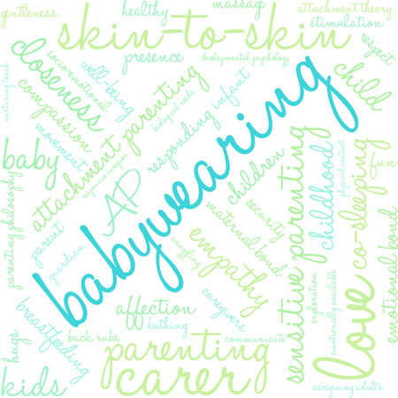 co: Baby Wearing word cloud on a white background.