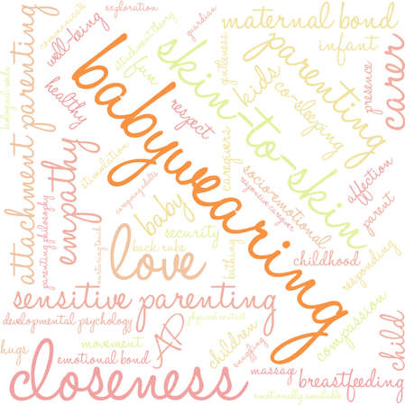 touch sensitive: Baby Wearing word cloud on a white background.
