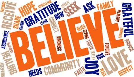 familia orando: Nube de la palabra creer
