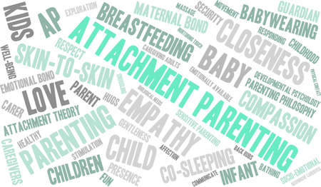 caregivers: Attachment Parenting word cloud on a white background.