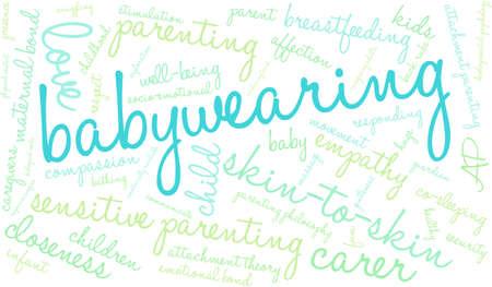 developmental: Baby Wearing word cloud on a white background.