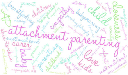 infant bathing: Attachment Parenting word cloud on a white background.