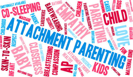 attachment: Attachment Parenting word cloud on a white background.