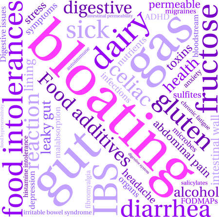 Bloating word cloud on a white background. Stock Vector - 94693485